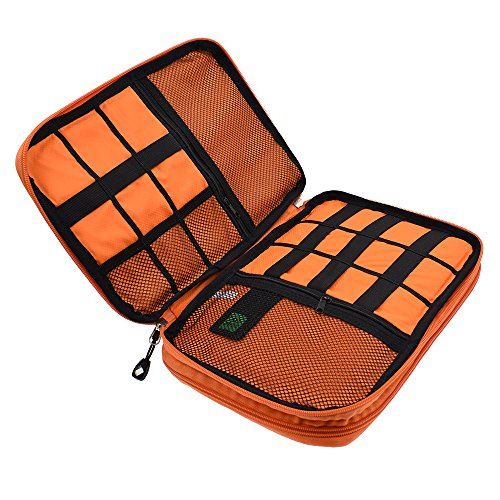 LIFEMATE Travel Accessories Electronics Organizer, Universal Cable Management Organizer Travel Bag For USB, Phone, iPad, Charger and Cable(Double Layer, Large, Grey and Orange) by LIFEMATE (Image #4)