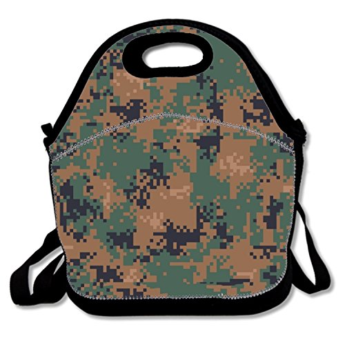 Adjustable Thermal Cooler Tote Woodland Camouflage Lunch Box Tote Insulated Thermal For Nurses Teens ()
