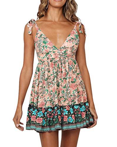 R.Vivimos Women Summer Spaghetti Straps Cotton Floral Print Backless V Neck Swing Mini Dress (XS, Multicolor#1)