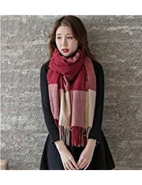 nwn Winter New Scarf Female Models Thick Section Warm Korean Version of The Wild Long Paragraph Plaid Shawl (Color : C)