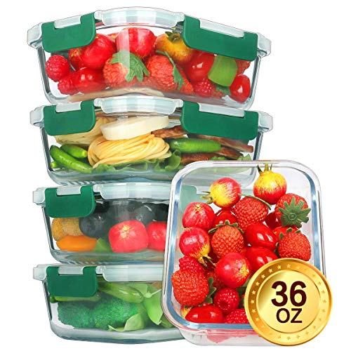 Glass Meal Prep Containers [5-Pack,36oz] - KOMUEE Food Prep Containers with LIFETIME Lids Meal Prep - Glass Food Storage Containers Airtight - Lunch Containers Portion Control Containers - BPA Free