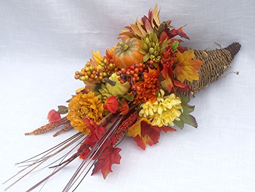 Extra large Traditional Fall Cornucopia centerpiece, horn of plenty, Thanksgiving arrangement for the table, fall decorations