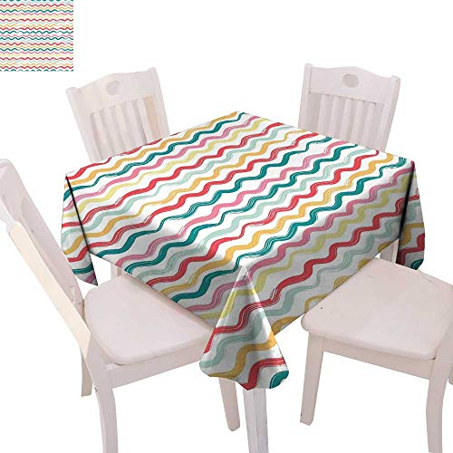 Flush Damask (Striped Dinner Picnic Table Cloth Pop Art Parallel Wavy Rough Lines Flush Brush Strokes Shaggy Groovy Boho Design Waterproof Table Cover for Kitchen 36