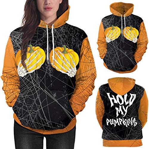 Sttech1 Pumpkin Ghost Claw Hooded Halloween Pocket Sweatshirt, Fashion Lovers Party Long Sleeve Pullover Blouse Hoodie Sweatshirt Tops -