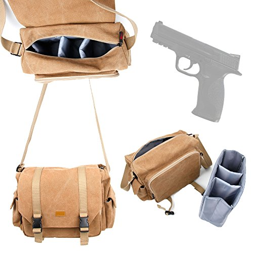 DURAGADGET Smith & Wesson M&P Airgun Carry / Storage Bag - Deluxe Canvas Shoulder Bag in Tan Brown with Adjustable Shoulder Strap for Smith & Wesson M&P Airgun & Accessories