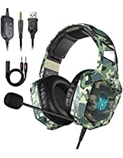 Stereo Gaming Headset for PS4, Xbox One, Nintendo Switch, Noise Cancelling Over Ear Headphones with Microphone, PC Headset with Bass Surround, Compatible with PC, PS4/PS4 Pro, Mac, Laptop(Red)