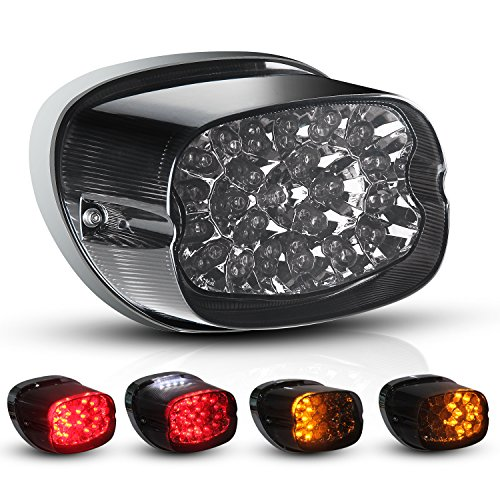 Motorcycle LED Tail Light Turn Signal for Harley Davidson Fatboy Heritage Sportster 883 Dyna Road King Electra Glide Nightster Street Bob FLHR FLHRCI FXD Night Train Rear Brake Park Light ()
