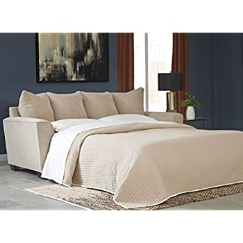 "Benchcraft Wixon 5700339 88"" Pull-Out Fabric Queen Sofa Sleeper with Memory Foam Mattress Flared Track Arms and Loose Seat Cushions in Putty"