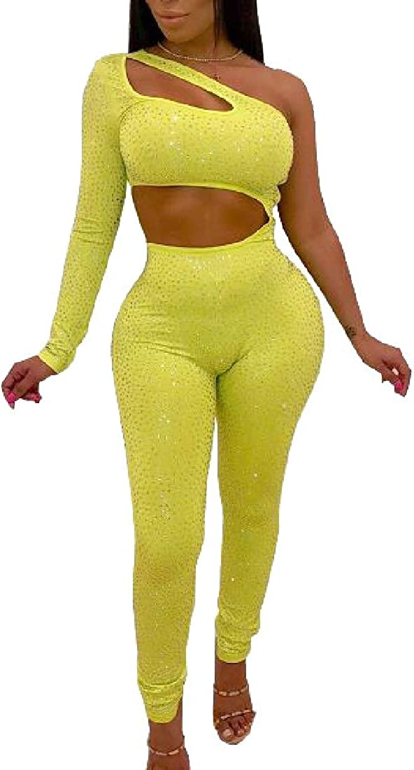 pujingge Womens Glitter One Shoulder Cut Out Bodycon Club Romper Jumpsuit