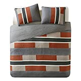 quilt clearance - Comfort Spaces Bedspreads Queen Size Mini Quilt Set - Casual Pierre 3 Piece Kids Lightweight Filling Bedding Cover - Gray/Orange Patchwork Print - All Season Hypoallergenic - Fits Full/Queen