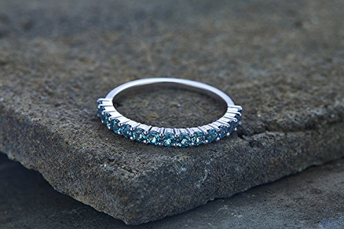Alexandrite Ring Wedding Band Aniversary Ring Sterling Silver Eternity Band Stacking Ring June Birthstone White Gold Plated Prong Set ()