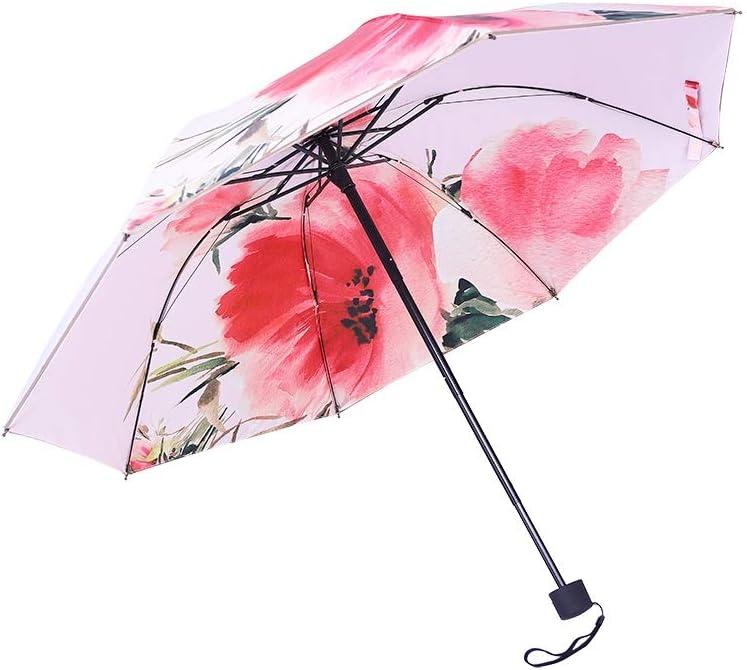 Conemmo Creative Ink Flower Double Umbrella Oil Painting Wind Folding Sun Umbrella Sun Protection UV Umbrella Dual-use Umbrella