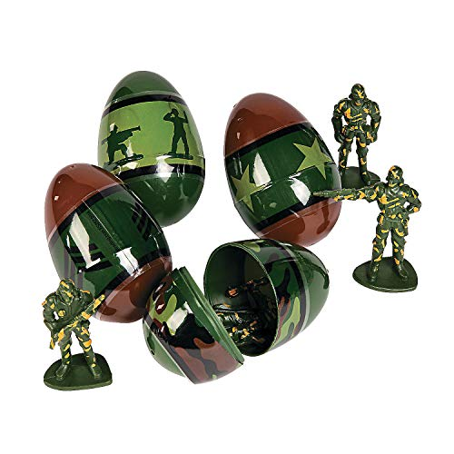 Egg Surprise with Army Toy Inside (12 Pack) - Easter Basket Stuffers, Party Favors, and Classroom Prizes -