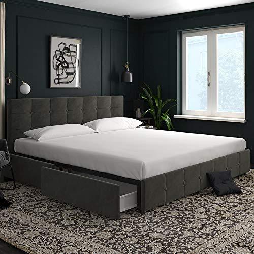 DHP 4344449 Rose Storage, Grey Velvet-King Upholstered Bed
