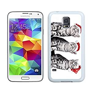 Design for Mass Customization Red Christmas Hat Naughty Cats Samsung Galaxy S5 White Silicone Case,Samsung I9600 Phone Case