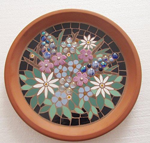 Mosaic birdbath, unique floral design, request your favourite flowers for the design by mosaics-handmadebyhippo