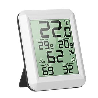 UKCOCO Termómetro Digital Higrómetro, Medidor de Humedad de Temperatura Medidor de Alta Precisión (Blanco