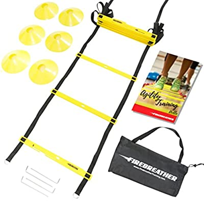 AGILITY LADDER & SPEED CONES by FireBreather Training. Bundle Includes a Set of 12 Adjustable Rungs, Pegs, Nylon Carrying Bag & Drills ebook. Great Agility Equipment to Improve Functional Skills