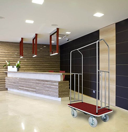 Stainless Steel Bellman's Cart with Red Deck