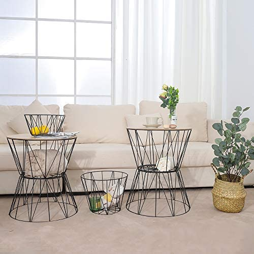 End Table, Small Side Table for Small Spaces to be Used as Round Coffee Tables or end Tables for Living Room Decor. Convertible Metal Round Table with Real Wood top and 2 Blanket Basket by Superlife.
