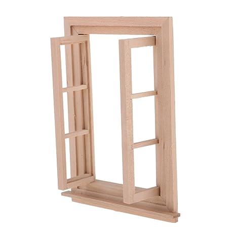 Magideal Miniature Fenêtre Avec Cadre En Bois Accessoire De Poupée
