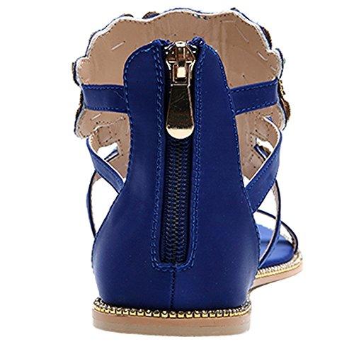 Pisos Azul Hooh Peep Rhinestones strap Toe Sandalias Saténs T Multicolor Mujer gzqSf