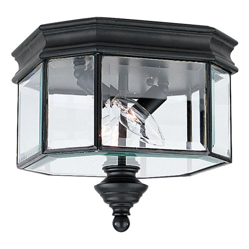 Sea Gull Lighting 8834-12 Outdoor Sconce with Clear Beveled Glass Shades, Black - Lighting Gull Gate Sea Hill