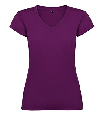 2cf1ffb5616702 Damen T-Shirt Oberteil V-Hals Einfarbig Baumwolle S M L XL XXL: Amazon.de:  Bekleidung