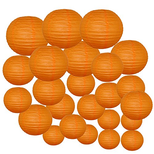 Just-Artifacts-Decorative-Round-Chinese-Paper-Lanterns-24pcs-Assorted-Sizes-Color-Red-Orange