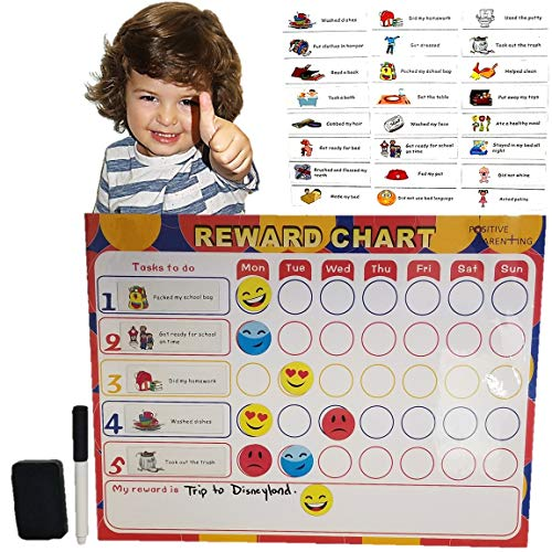 REWARD, BEHAVIOR & CHORE CHART - 35 Emoji Expression Magnets & 24 Chore and Responsibility Magnets - Flexible Magnet Backing for Fridge or other Metallic Surface.