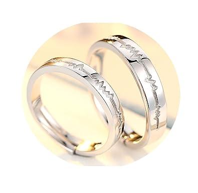 840e4c319f TIDOO Jewelry S925 Adjustable Engagement Heart Beat Simple ECG Rings Women  & Men Wedding Couple Rings|Amazon.com