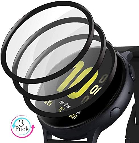 [3 Pack] for Samsung Galaxy Watch Active 2 (44mm), 3D Curved Full Coverage HD Clear Case Friendly Screen Protector Film, Black Edge.
