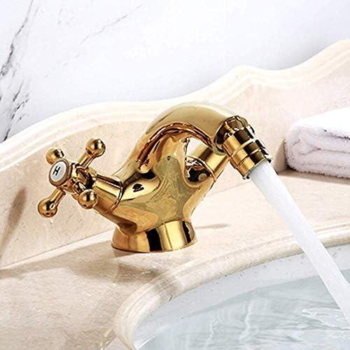 CHENBIN-BB ヨーロピアンスタイルの銅のダブルダブルの浴室の洗面台の蛇口家庭用温水と冷水が回転単穴の蛇口設定することができます