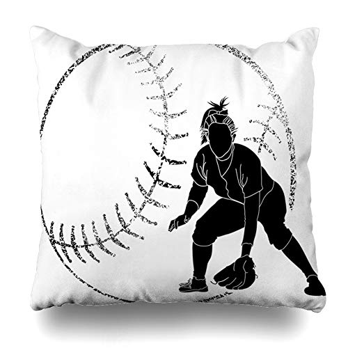 Ahawoso Throw Pillow Cover Girl Softball Fielder Sports Recreation Bat Athlete Batting Catching Design Decorative Pillow Case 18x18 Inches Square Home Decor Pillowcase