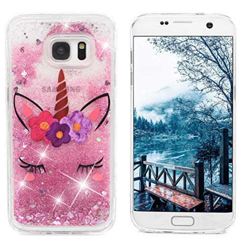 Galaxy S7 Edge Case, Clear Liquid Glitter Case Air-Cushion Drop Resistant Shiny Sparkle Flowing Moving Hearts Shock Absorption TPU Bumper Shell Protective Cover for Samsung Galaxy S7 Edge - Unicorn by KASOS (Image #1)