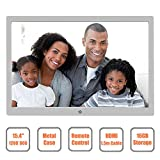 Digital Photo Frame 15.4 Inch 1280x800 High Resolution with HDMI & 16GB Storage FULLBELL Metal Electronic Album Remote Control LED Backlight Support 32GB HD 720p Video (Silver)