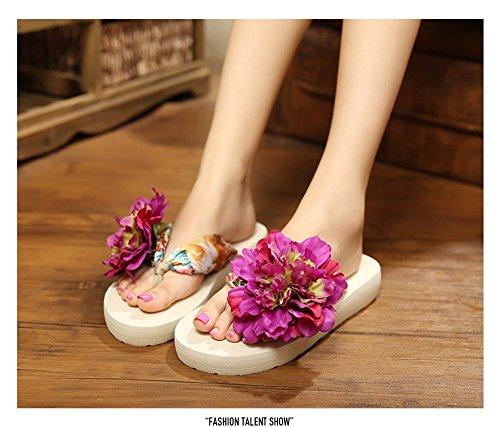 Damenschuhe Blumen Keilabsatz Zehntrenner Pantoletten Urlaub Strandschuhe Sandalen Sandaletten Sommer Schuhe slippers Lila