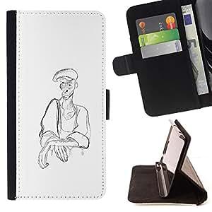 BullDog Case - FOR/Samsung Galaxy A3 / - / MAN PEASANT ART PENCIL DRAWING COAL HAT /- Monedero de cuero de la PU Llevar cubierta de la caja con el ID Credit Card Slots Flip funda de cuer