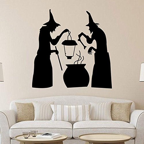 Halloween Decals Two Witches Stake Cauldron Pot Solar Lighted Lantern Stake Cauldron Pot Solar Lighted Lantern Wall Stickers Kids' Room Wall Decals Living Room Wall Decor