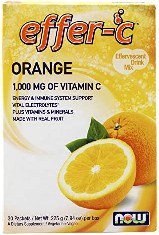 NOW Supplements, Effer-C , Orange, Vital Electrolytes*, 1,000 mg Vitamin C, 30 Packets
