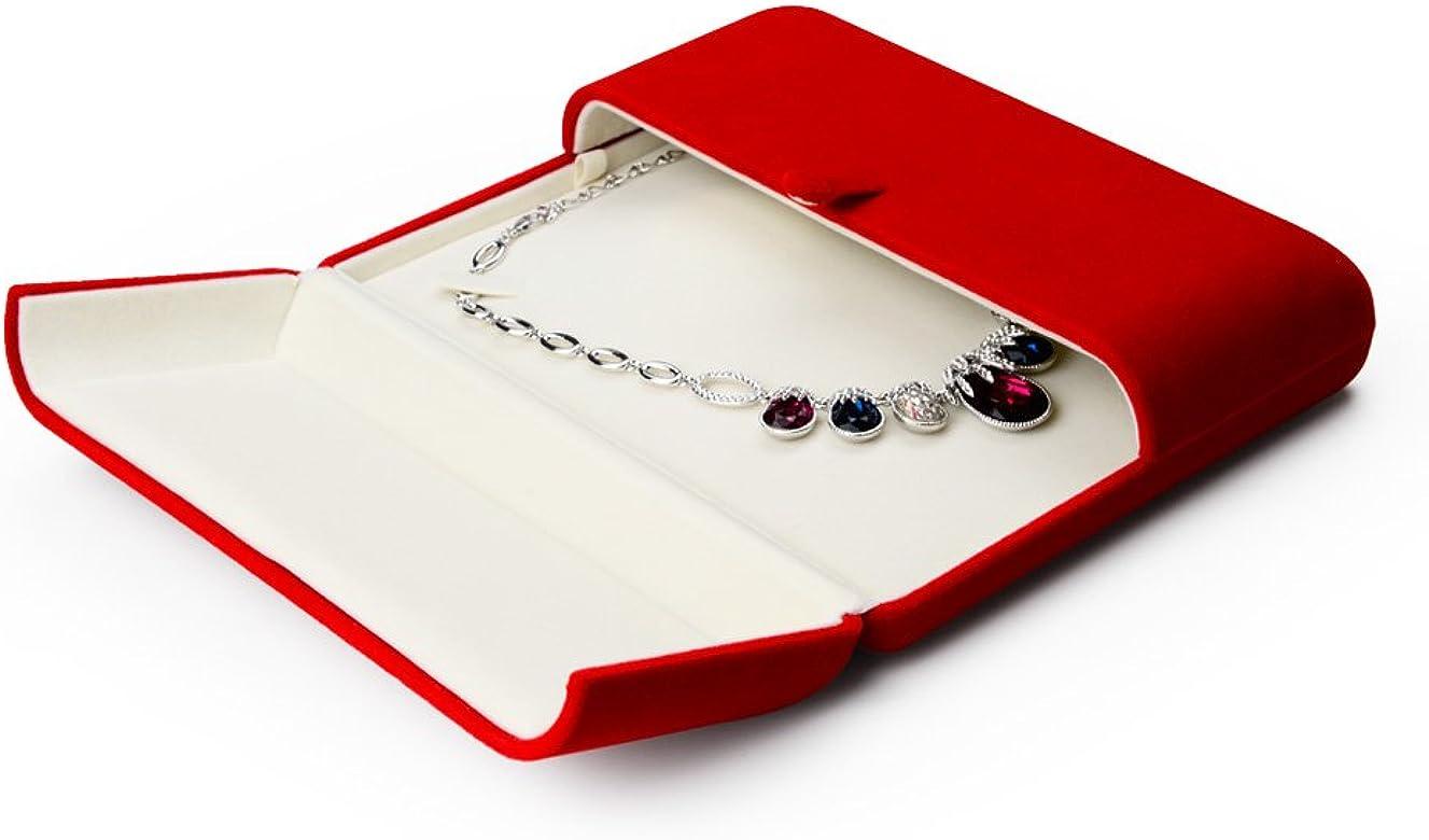 Oirlv Red Velvet Caja de Embalaje de joyería Doble Abierta Anillo ...