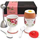 Mevis Line Egg Cups and Cracker Topper Set, Soft Hard Boiled Egg Cooker Tool, Includes 2 Eggs Holder, 2 Ceramic Spoons, 1 Egg Timer and 1 Egg Cutter Topper. All in a Premium Box