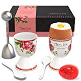 Mevis Line Egg Cups and Topper Cracker Set, Soft Hard Boiled Egg Cooker Tool, Includes 2 Eggs Holder With German Rose Design, 2 Ceramic Spoons, 1 Egg Timer and 1 Egg SS Topper. All in a Premium Box