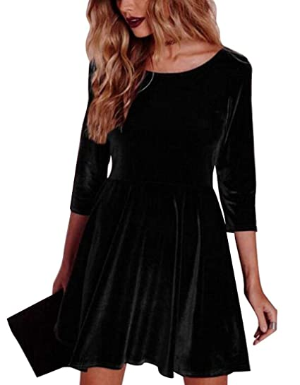 SELX Womens Gold Velvet Long Sleeve Flare Loose Short Skater Dress Black US  XS afc5328ca0ca