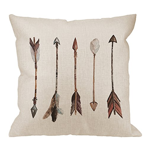 HGOD DESIGNS Arrow Pillow Case, Watercolor Hand Drawn Arrows Boho Style Cotton Linen Cushion Cover Square Standard Home Decorative Throw Pillow for Men/Women 18x18 inch Gray White Brown ()