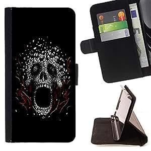 BullDog Case - FOR/Apple Iphone 4 / 4S / - / Scream Skull /- Monedero de cuero de la PU Llevar cubierta de la caja con el ID Credit Card Slots Flip funda de cuer