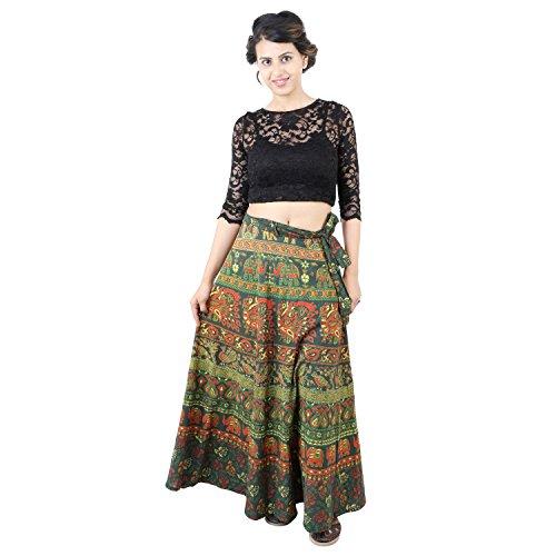 Suman Enterprises Cotton Wrap Around Skirt Dress Indian Ethnic Rapron Hippie Boho Gypsy (Mehandi Green)
