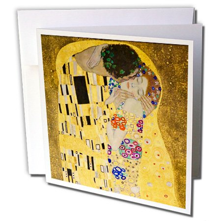 3dRose The Kiss c 1907 by Gustav Klimt - romantic lovers embrace - famous classical fine art - Greeting Cards, 6 x 6 inches, set of 12 (gc_155634_2)