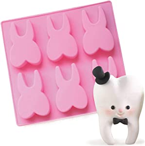 Tooth Silicone Mold, Funny Teeth Shape Novelty Ice Cube Tray, Chocolate Candy Dessert Jello Mold, Soap Making Mold, Cake Baking Pan, Perfect Gag or White Elephant Gift for Dentists