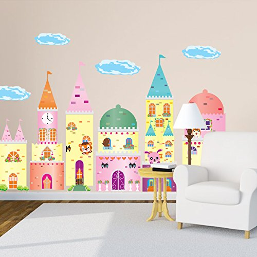 SWORNA Baby Nursery Series A Lovely Castle Removable Vinyl DIY Wall Art Mural Decal Decor Sticker Baby Children Kids Nursery Living Room/Home/Indoor/Playroom/Hallway/Bedroom/Kindergarten 33